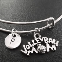 Volleyball mom Stainless Steel Expandable Bangle, monogram personalized item No.775