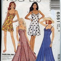 90s Bra Dress McCalls Sewing Pattern 6581 Different Hem lengths Size 8