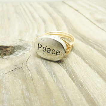Custom Peace Ring Holiday Christmas Romantic Mother Gift Wire Wrap Ring Silver Rose Gold Filled Wire Wrap silver customized  Ring  Any Size