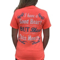 Country Life Southern Attitude Coral Bless This Mouth T-Shirt
