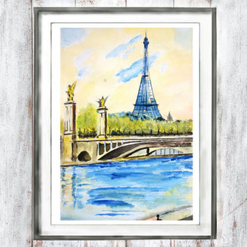 Watercolor Print Paris Art Eiffel Tower by riverside  watercolor painting landscape arts  home decor wall art  watercolor art digital print
