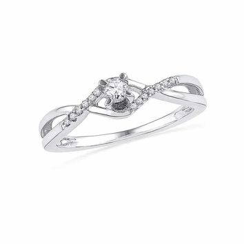 10kt White Gold Women's Round Diamond Solitaire Twist Bridal Wedding Engagement Ring 1/6 Cttw - FREE Shipping (US/CAN)