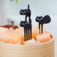 Cat Food Fork Fruit Picks Cute Black Cat Children Fork Lunch Box Bento Decor Accessories Fruit Fork Set 6pcs/Set GB0129