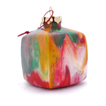 Handmade Glass Cube Ornament Painted Inside OOAK Decor - Christmas Colors - Green Red Yellow