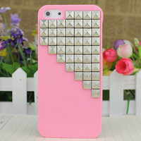 Light Pink Hard Case Cover With Silvery Stud for Apple iPhone5 Case, iPhone 5 Cover,iPhone 5 Case, iPhone 5g