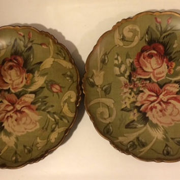 Set of  2 Raymond Waites Toyo Trading Co. Plates,  Floral Design, Rose Decorative Plate, Vintage Home Decor, Wedding Registry, House Warming