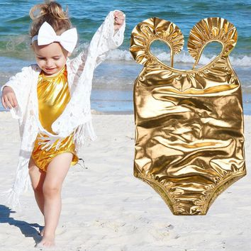 Summer Toddler Kid Baby Girls Golden Slings and one-piece swimsuits Bikini Skirt Bathing Suit