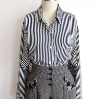 Vintage 80s Navy & White Striped Silk Dolman Button Up Blouse // Women's Top