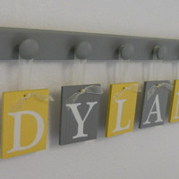 Yellow Grey Nursery Decor Baby Boy Room Hanging Ribbon Letter Name Plates Personalized for DYLAN with 5 Gray Wood Pegs