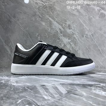 HCXX A947 Adidas CF AIL Court Leather Casual Board Shoes Black White