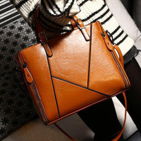 womens leather mixed handbags zipper OL message casual shoulder bags