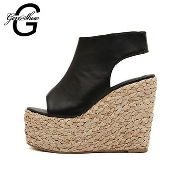 GENSHUO Brand Summer Open Toe Shoes Woman Leather Wedge Platform Sandals Fashion 2017 Casual Wedges Women Sandals