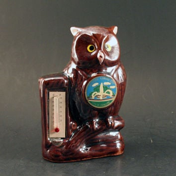 Vintage Owl Thermometer from Kansas City - Made in Japan