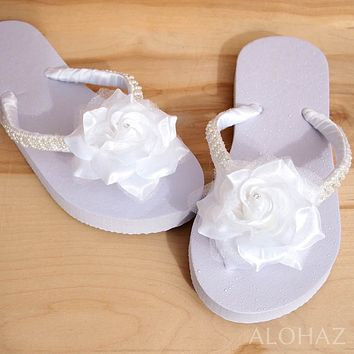 allure white bridal hawaiian flip flops