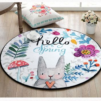 Autumn Fall welcome door mat doormat Multi-function Easter Day gift cartoon rabbit ground mat for kitchen,  ,round shaped bear carpet ,decoration ground mat AT_76_7