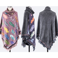 Bohemian Winter Western Fashion Feather Turtleneck Poncho Shawl Long Viscose