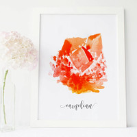 carnelian crystal carnelian stone art gemstone decor, crystals and gem stones, gemstone art, gem print, gem art, painted stone wall art
