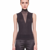 Akris | silk stretch mock neck top