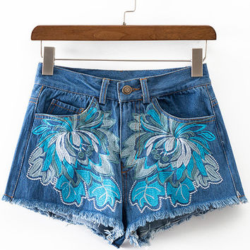 Blue Pockets Fringe Trim Embroidery Denim Shorts