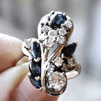 Antique Sapphire Diamond Ring 1800s Victorian Aesthetic Era Ring Cocktail Cluster Ring 14k 14 K Gold Almost 2 CT Circa 1885-1901 Heirloom