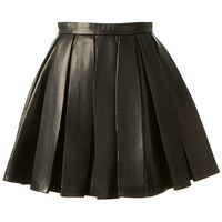 BALMAIN BLACK LEATHER PLEATED SKIRT