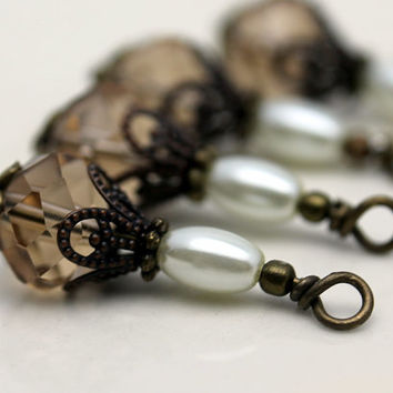 Vintage Style Smokey Topaz Multifaceted Crystal Rondelle and Pearl Bead Dangle Drop Set