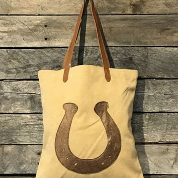 Canvas & Leather Horse Shoe Tote- 3 colors