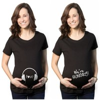 MAGGIE'S WALKER New Summer Maternity Clothes Funny Design T Shirts 100% Cotton Breastfeeding Pregnant Women Tops Premama Wear