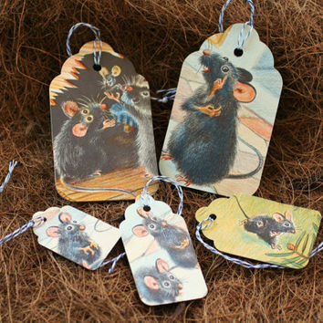 Mice Gift Tags - Vintage Children's Book Illustrations - Set of 5