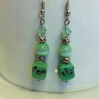 Green glass earrings, Green dangle earrings with Swarovski crystals, original and unique, glass bead earrings, nickle-free earrings