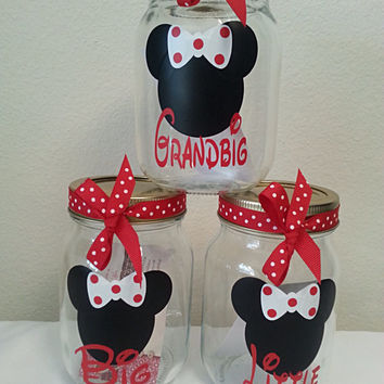 Set of 3 Big Little Grandbig sorority gift mason cups w/lid straw & bow