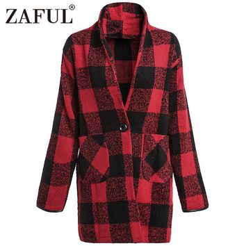 ZAFUL New Womens Winter Jacket Coats Vintage Red and Black Plaid Warm Overcoat Ladies Outwear Long Wool Coat Woolen Casaco