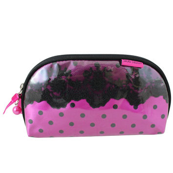 "Polka Dot Romance Flat Cosmetic Bag 8""""X5""""X0.5"""" Hot Pink: Hot Pink"