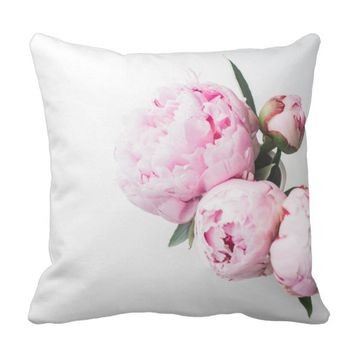 Pink Peony Flower Throw Pillow