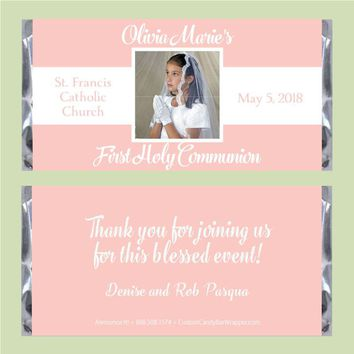 Center Photo First Communion Candy Bar Wrapper