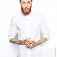 ASOS Smart Shirt with Grandad Collar in Cotton