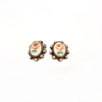Porcelain Pearl Earrings, Painted Flower Cameo