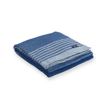Eco-Woven Cotton Linear Stripe Throw by Faribault BLUE