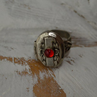 Vintage Ring, Locket Ring, Silver Ring, Photo Ring, Red Stone, Poison Ring, Sniff Ring, Art Deco Ring, 1940s Ring, Adjustable Ring,