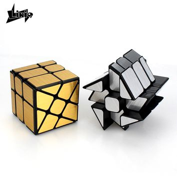 Likiq Wheel Wind Speed Cube Puzzle 3x3x3 Gold/Silver Mirror Windmill Magic Cubes Shape Mod Puzzle Toys Brain Teasers for Kids