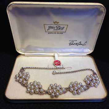 Cultured Pearl and Rhinestone Sterling Silver Necklace by Van Dell- Vintage 1950's Wedding Jewelry