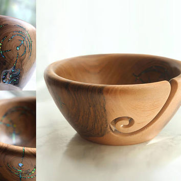 Walnut wood knitting bowl w/ faux opal inlay, wooden bowl, mom gift for her, yarn bowl knit crochet organizer, home decor, mother's day gift