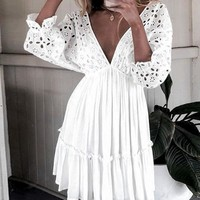 Elegant Vintage Lace Short Dress Women Sexy V Neck Dress Cotton Hollow Out Casual Holiday Dress