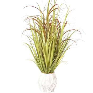 """36"""" Tall Plastic Grass and Onion Grass Artificial Indoor/ Outdoor Faux Décor in Ceramic Pot"""