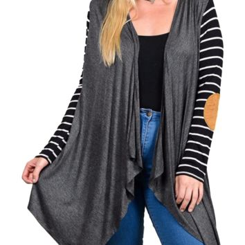 Women's Charcoal Gray Cardigan with Black Striped Raglan Sleeve Brown Suede Elbow Patch