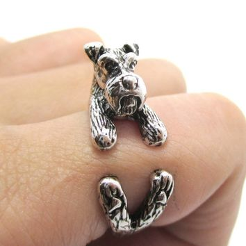3D Miniature Schnauzer Dog Shaped Animal Wrap Ring in Shiny Silver | US Sizes 5 to 9