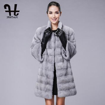 FURTALK High quality Real Natural Mink Fur Coat for Women Winter Long Mink Fur Coat Fur Jacket
