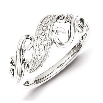 Sterling Silver and Diamond Swirl Ring