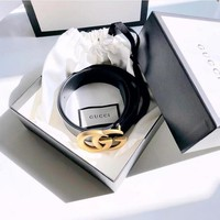 """""""GUCCI"""" Fashionable Woman Men Chic Smooth Buckle Belt Leather Belt+Gift Box Black I/A"""