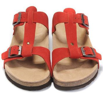Birkenstock Leather Cork Flats Shoes Women Men Casual Sandals Shoes Soft Footbed Slippers-208